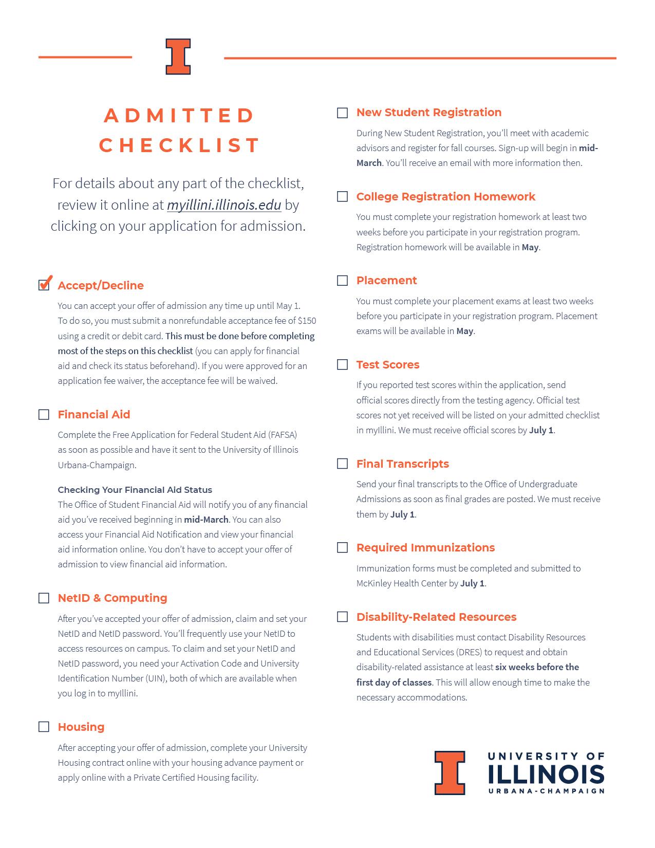 2021 Admitted Checklist
