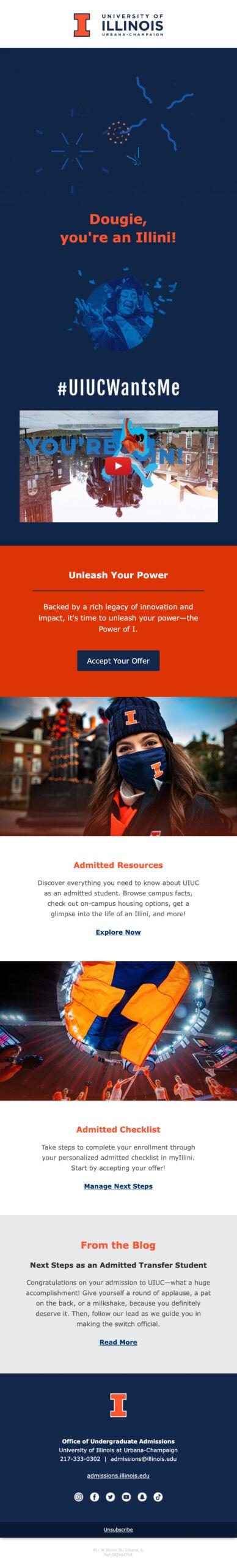 UIUC Notice of Admission Email 2021